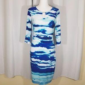 Calvin Klein Keyhole Blue Waves Midi Dress - 4